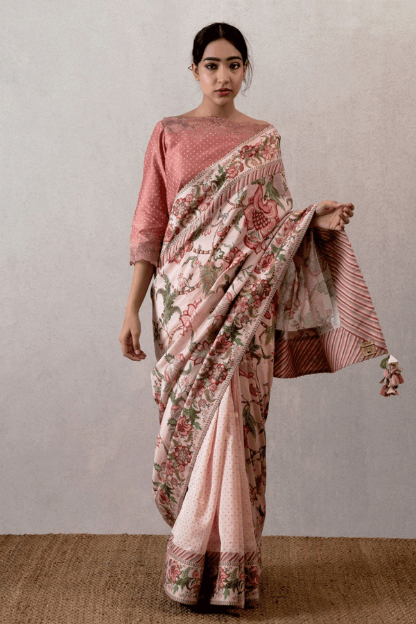 Gulabi cheent Rekha Bindu Chanderi Saree Set