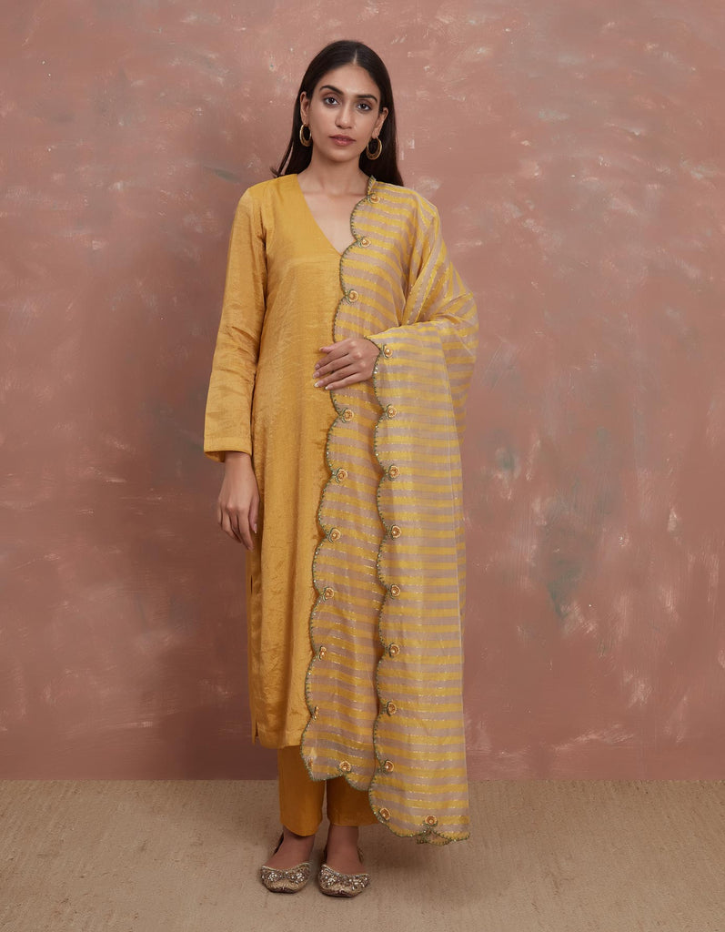 Sarson Handwoven Tissue Kurta with Pants and Dhaari Embroidered Odhani
