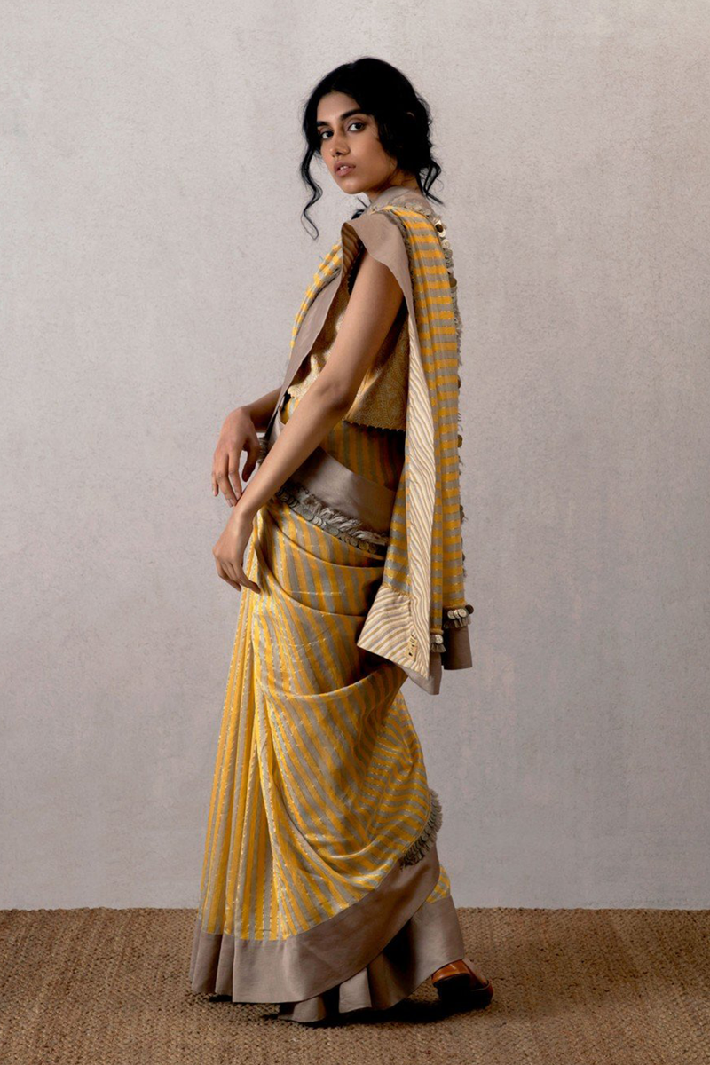 Yellow Zard Baloch Peeli Dhaari Chanderi Saree