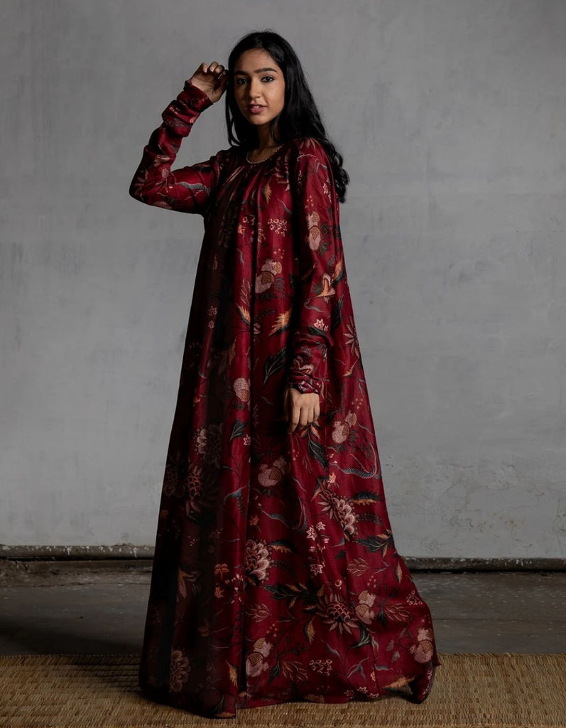 Bhura Anardana Chintz Chanderi Ghrera With Churidaar Sleeves