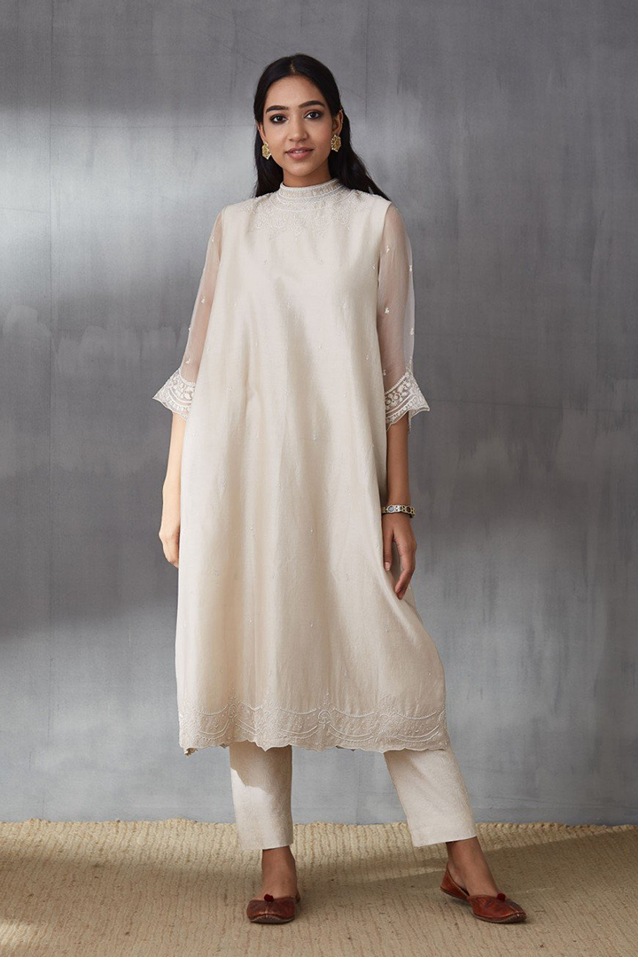 Ecru Aari Moti Waraq Kurta with Organza Sleeves