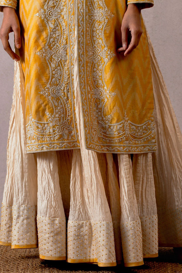 jhulan chanderi crushed marodi  skirt with a beaded border