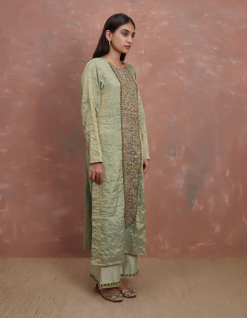 Pista Pitta Waraq Kurta with a Farshi