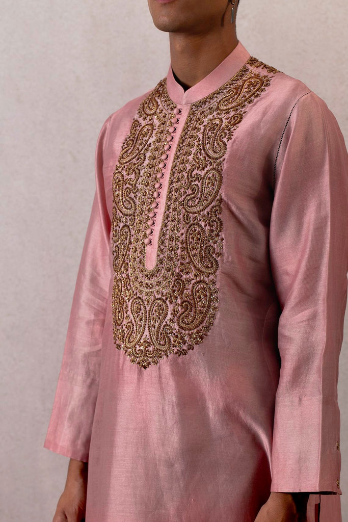 Gulabi viras sindhi chanderi kurta and churidaar with hand embroidery