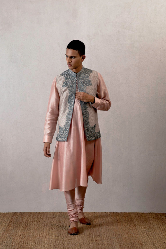 Gulabi chanderi ghera kurta and churidaar