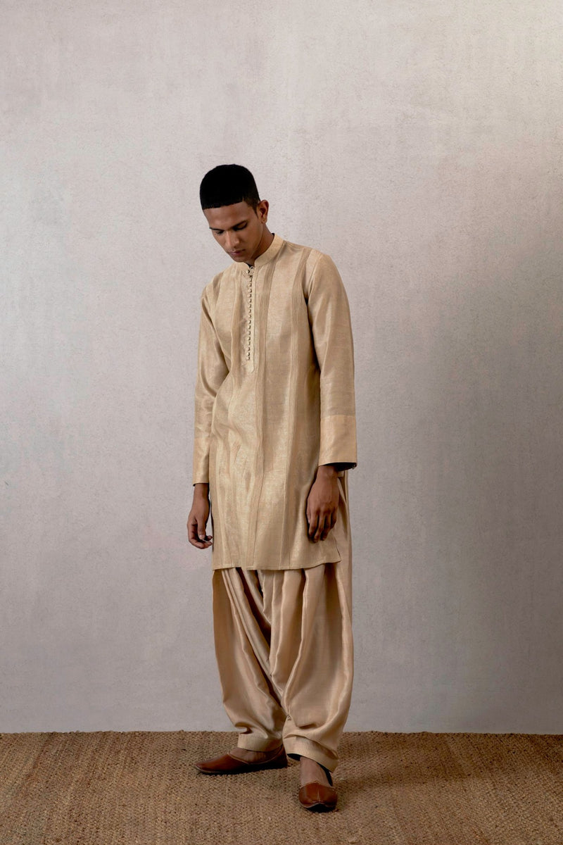 Chandan chanderi pleated kurta and salwar