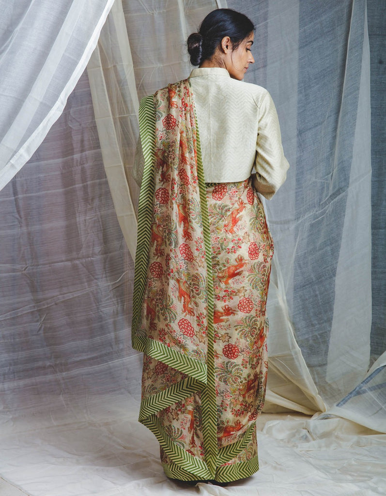 Airavata Chintz Sari with kadi print border on handwoven Chanderi