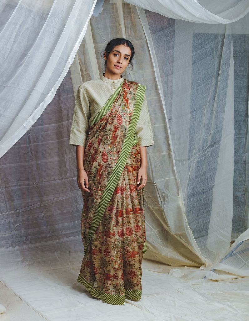Airavata Chintz Sari Set with Kadi Print Border on Handwoven Chanderi