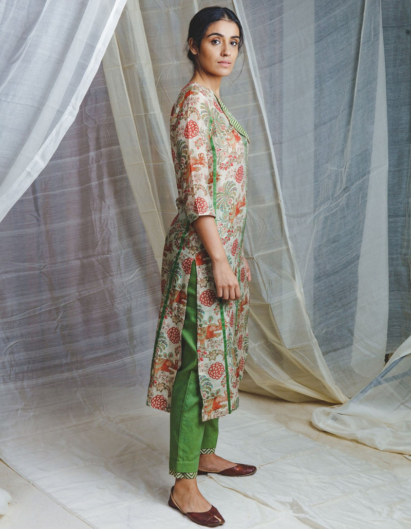 Airavata chintz cotton silk kurta with kadi print collars