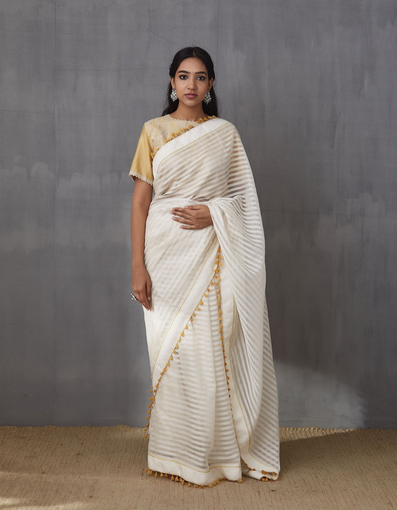Ecru Handloom Chanderi Saree Set