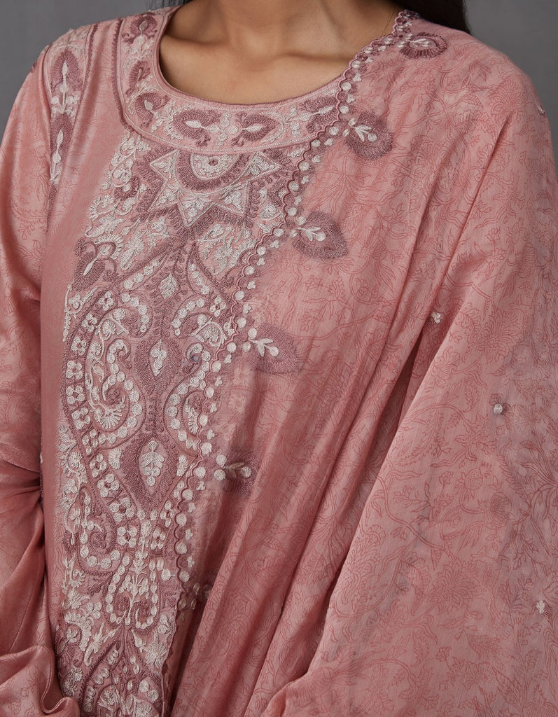 Gulabi Block Printed Ghera with Pants and Dupatta