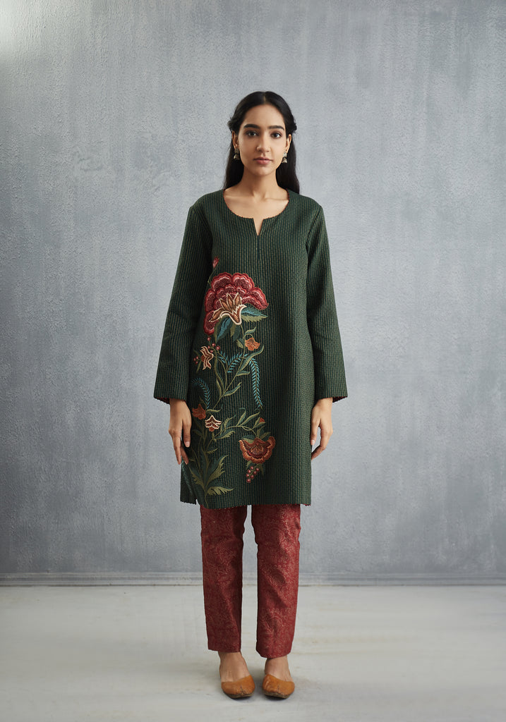 Sindhdi Neem Green Long Kurta with Embroidered Chintz