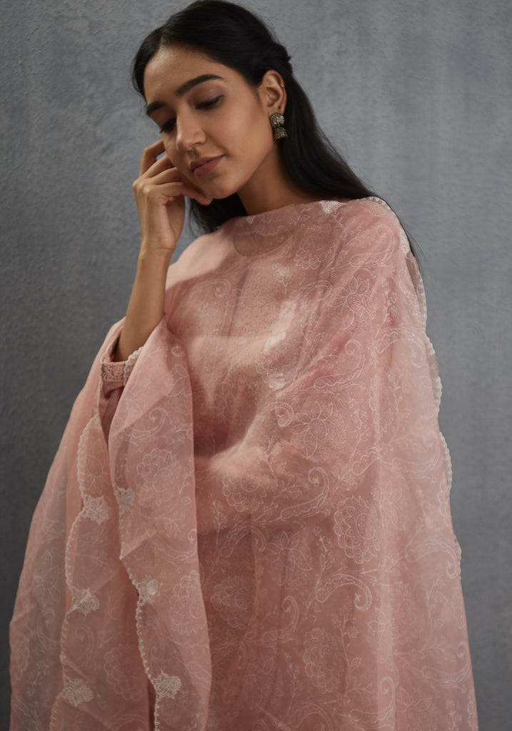 Gulabhari organza odhani with scallop embroidery