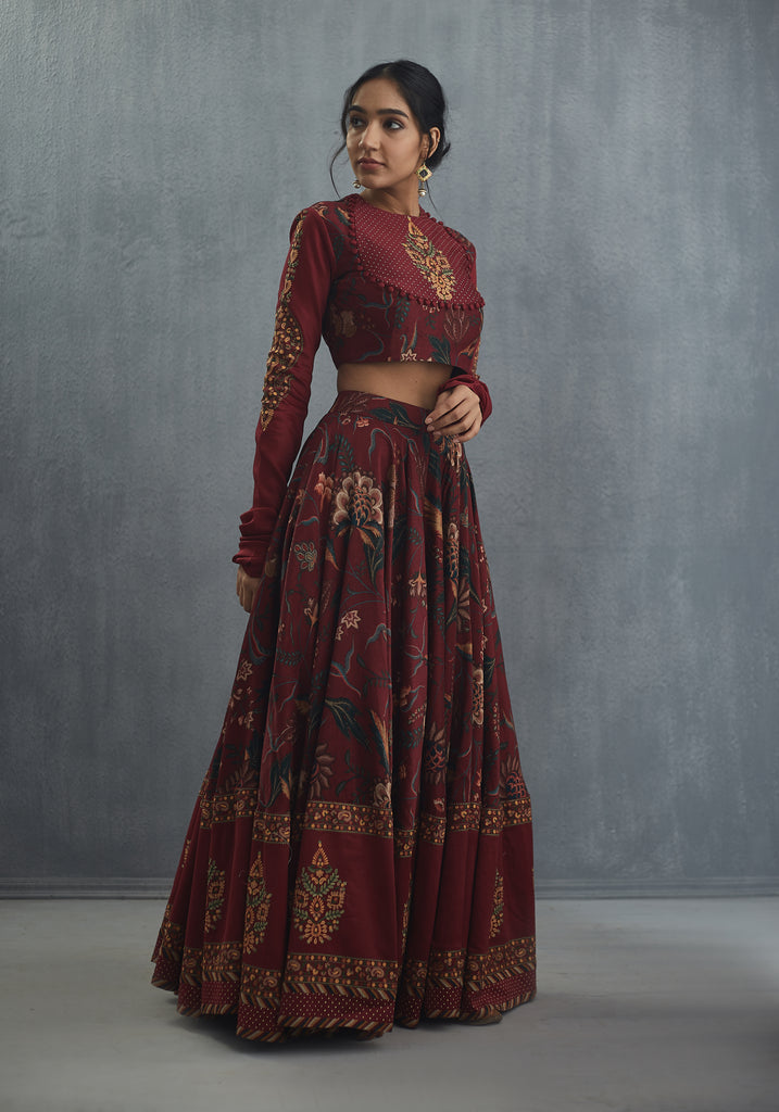 Bhura anardan cheent print full set Lehenga