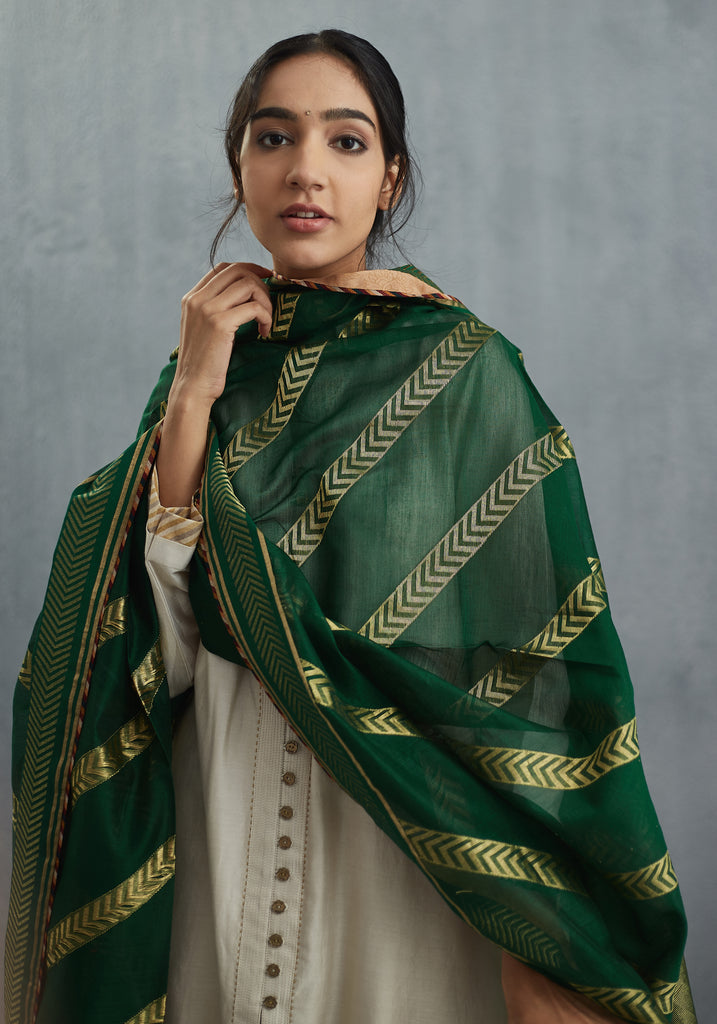 Neem Green Chevron Handwoven Chanderi Odhani
