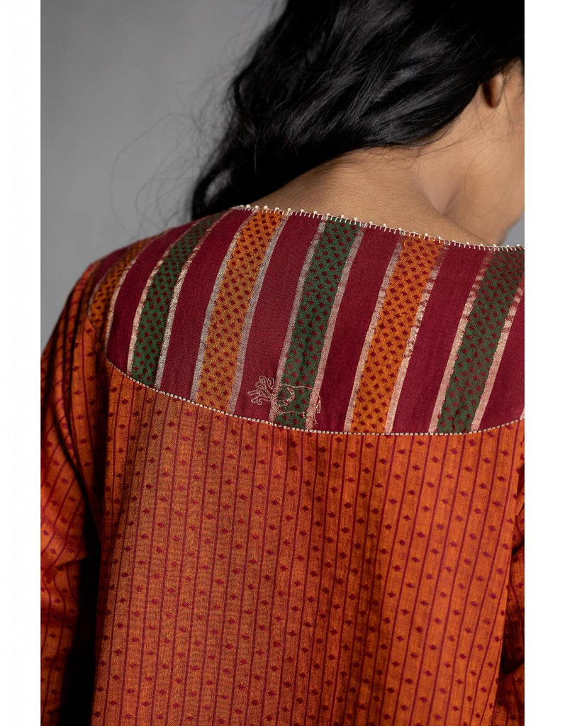 Narangi Chintz Embroidered Kedia