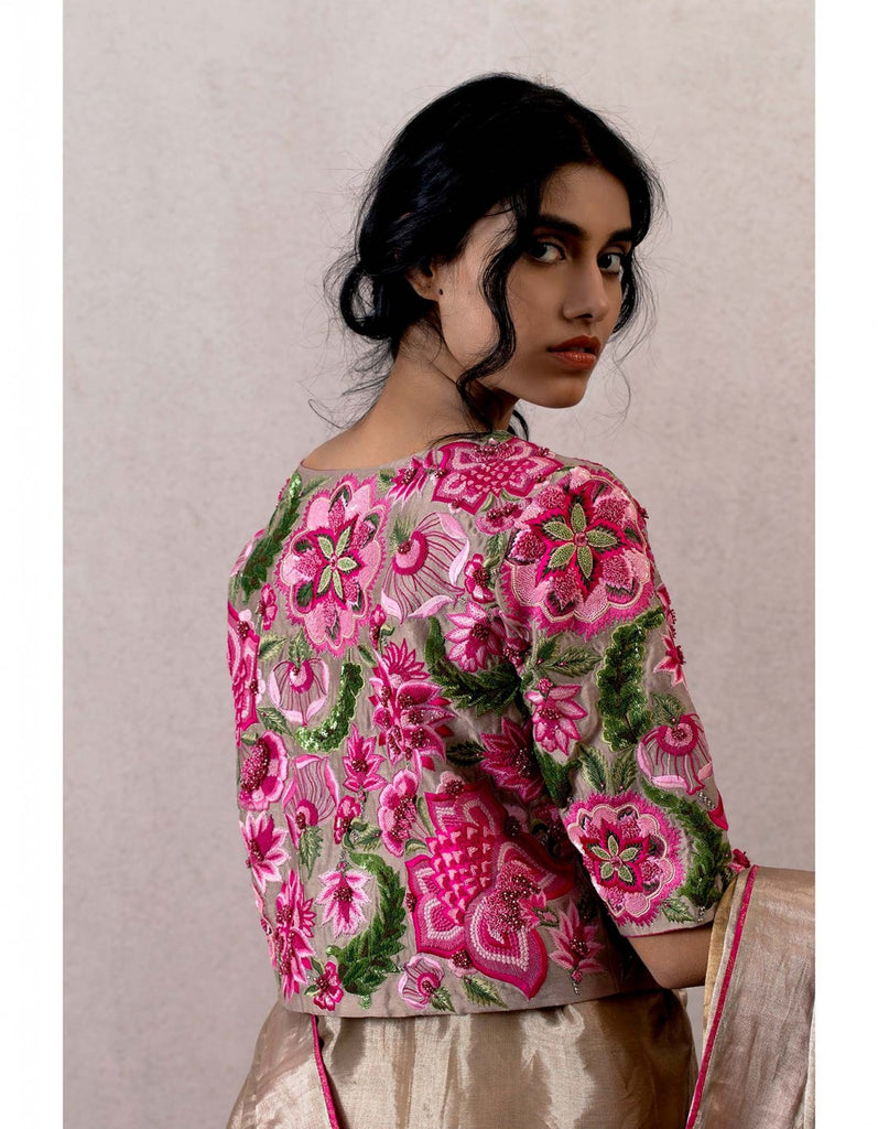 Pink Gulabhari Bahaar Cheent Embroidered Blouse