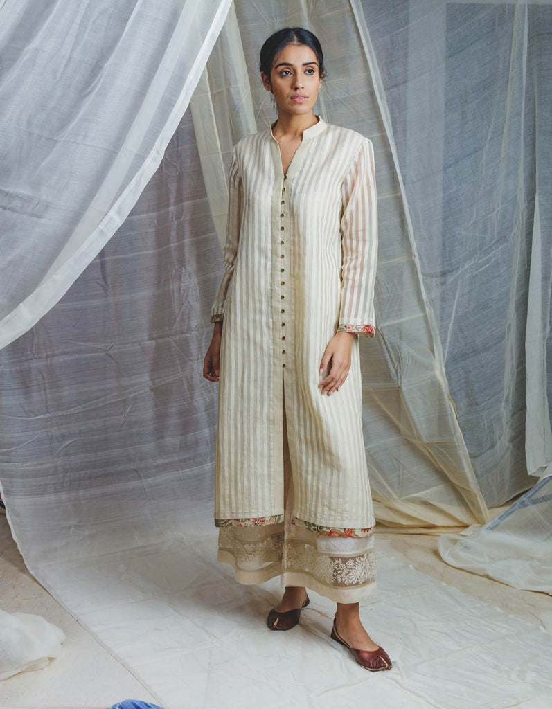 Handwoven Ecru Silk Dhaari Salma Long Button Kurta Set