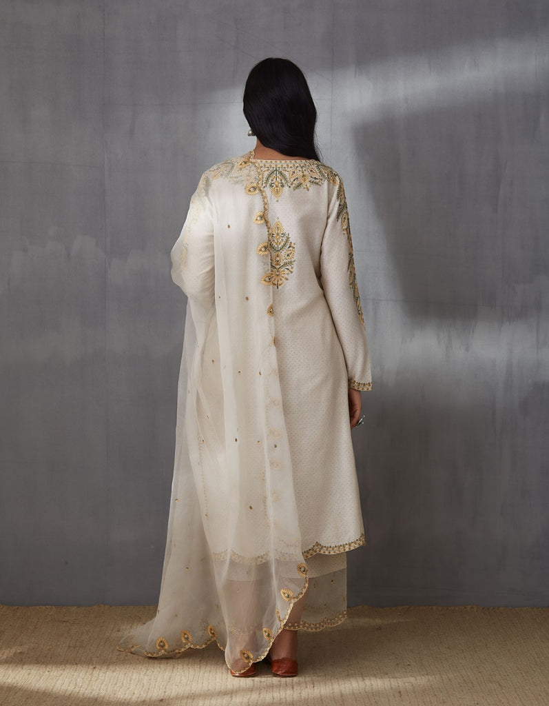 Sarson bindu aari waraq kurta and pants with dupatta