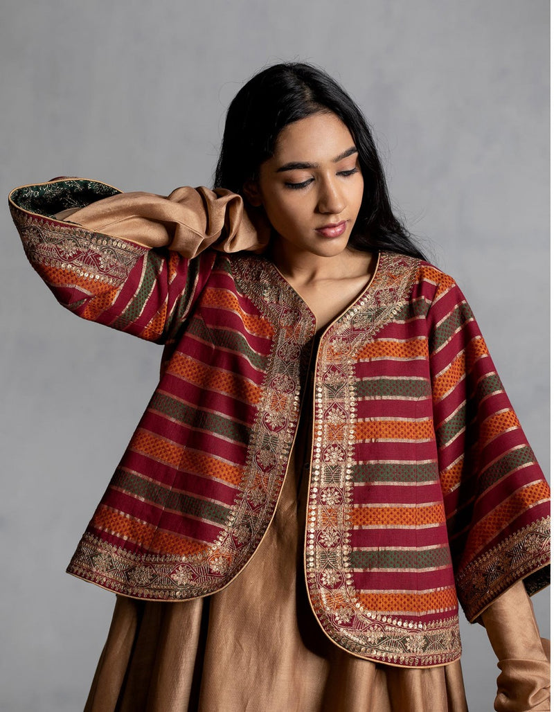 Sindhdi Stripes Hand Embroidered Aari Bolero Jacket