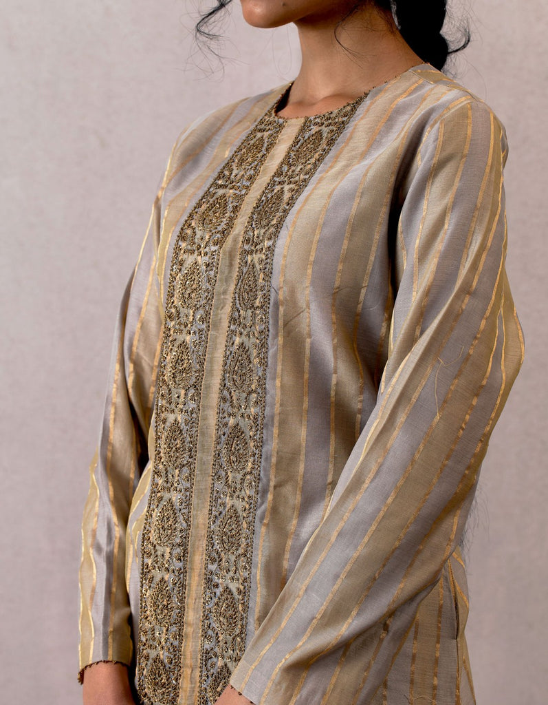 Slaty Viras Handwoven Chanderi Kameez and Skirt