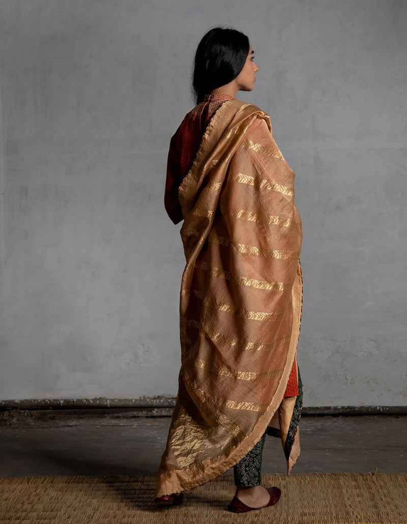 Chandan Chevron Handwoven Gold Odhani