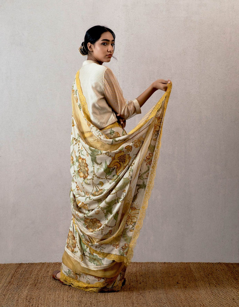 Yellow Sarson Cheent Chanderi Embroidered Saree