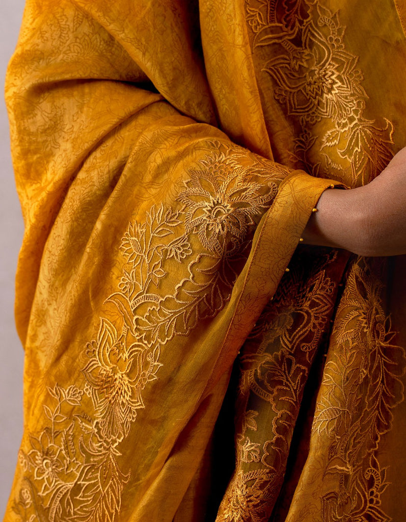 Sarson jhulan odhani with cheent embroidery