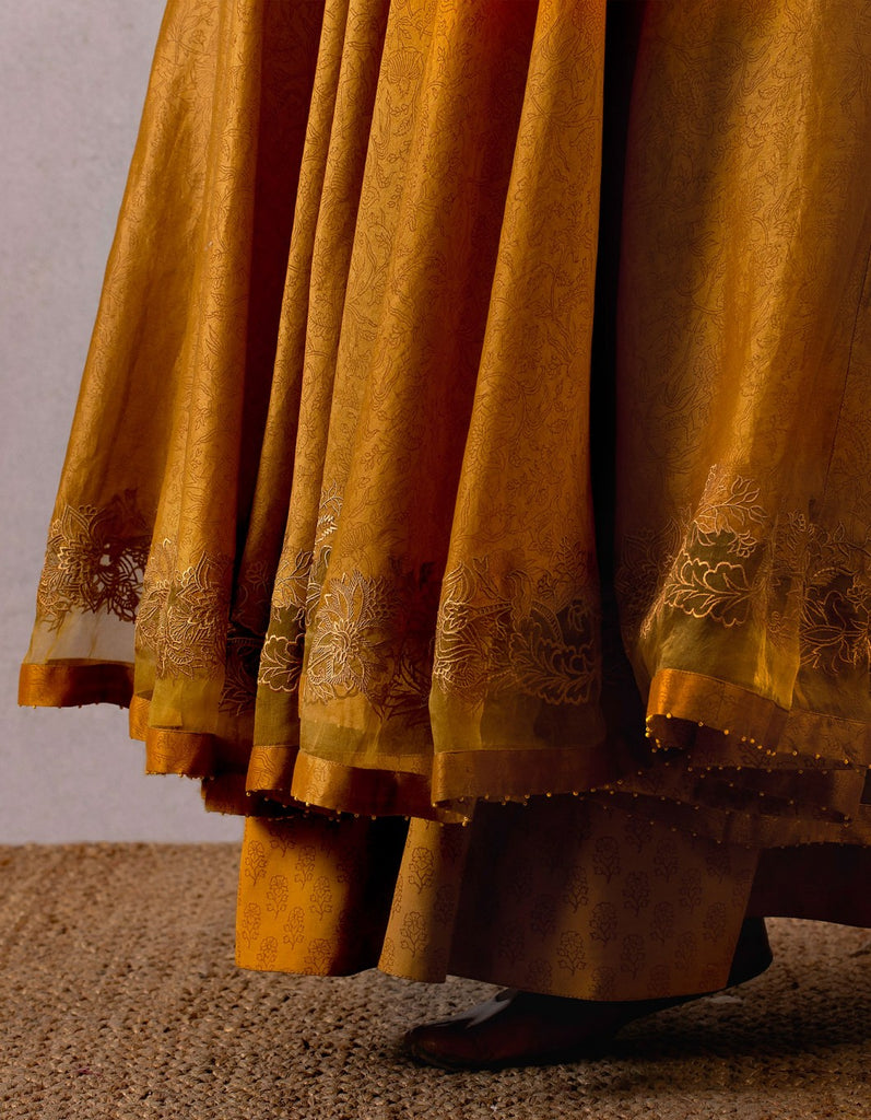 Yellow Sarson Jhulan Scallop Embroidery Long Julaba Dress