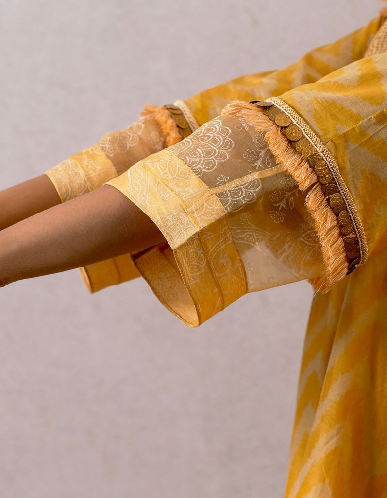 Yellow Zard Baloch Ikat Cholo with Hand Sewn Kantha