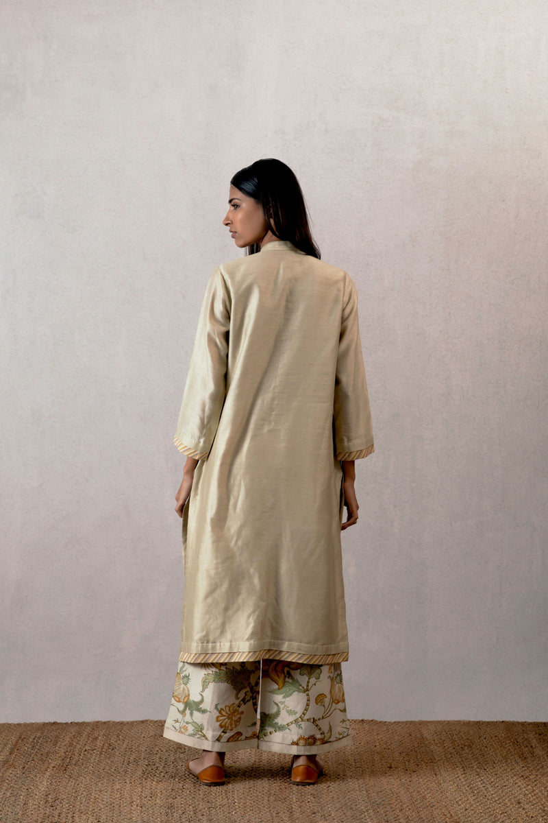 Slaty chanderi kurta with hand sewn Kantha work