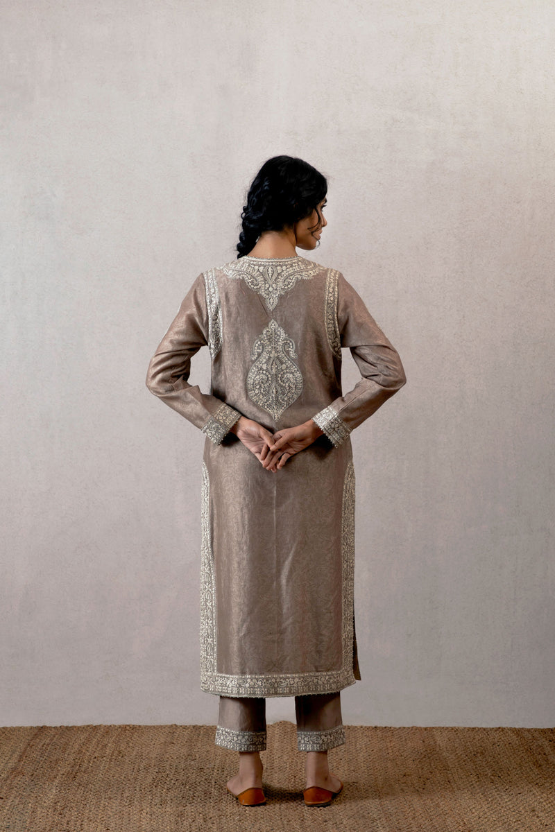 Slaty aari waraq chanderi kameez and patloon