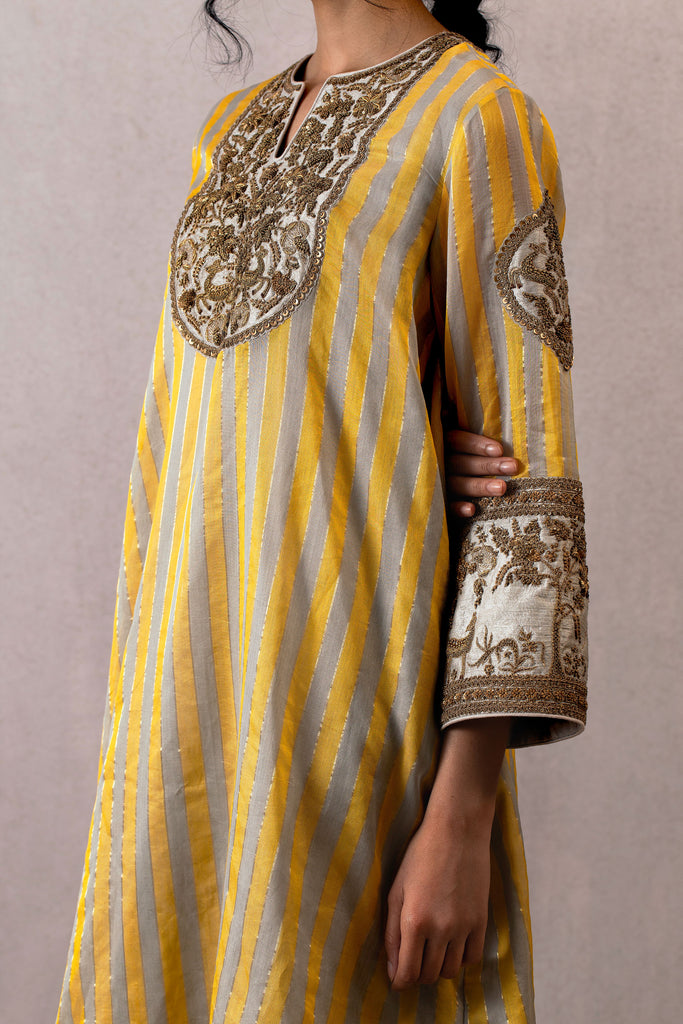 Viras sindhi chanderi phiran with hand embroidered dabka and Farshi