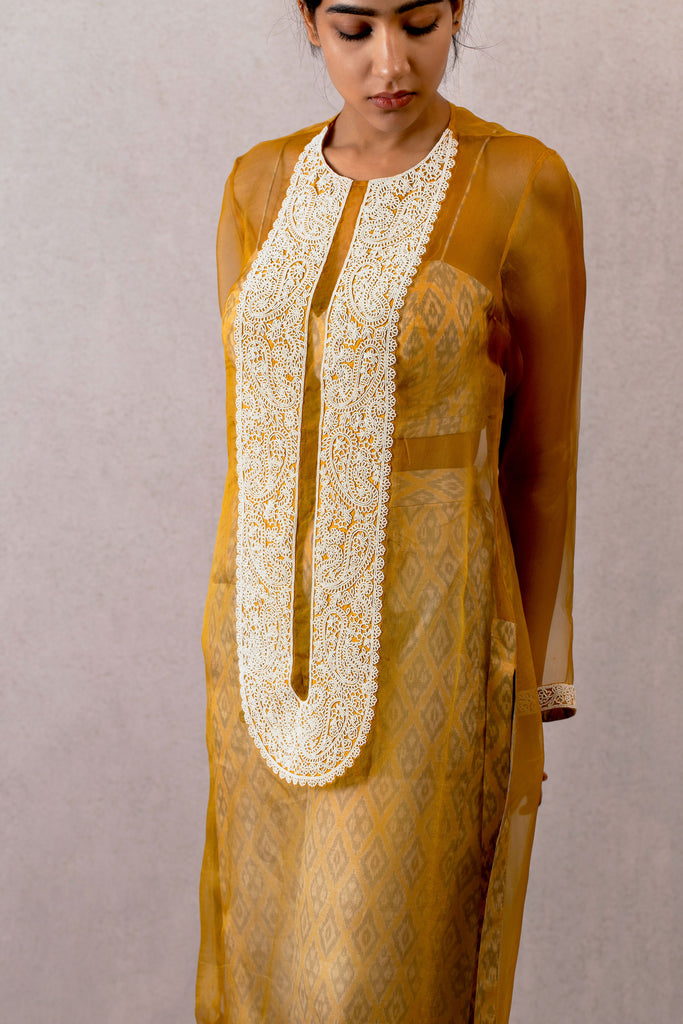 Sarson organza kurta with Moti work and ikat pants and bralette set