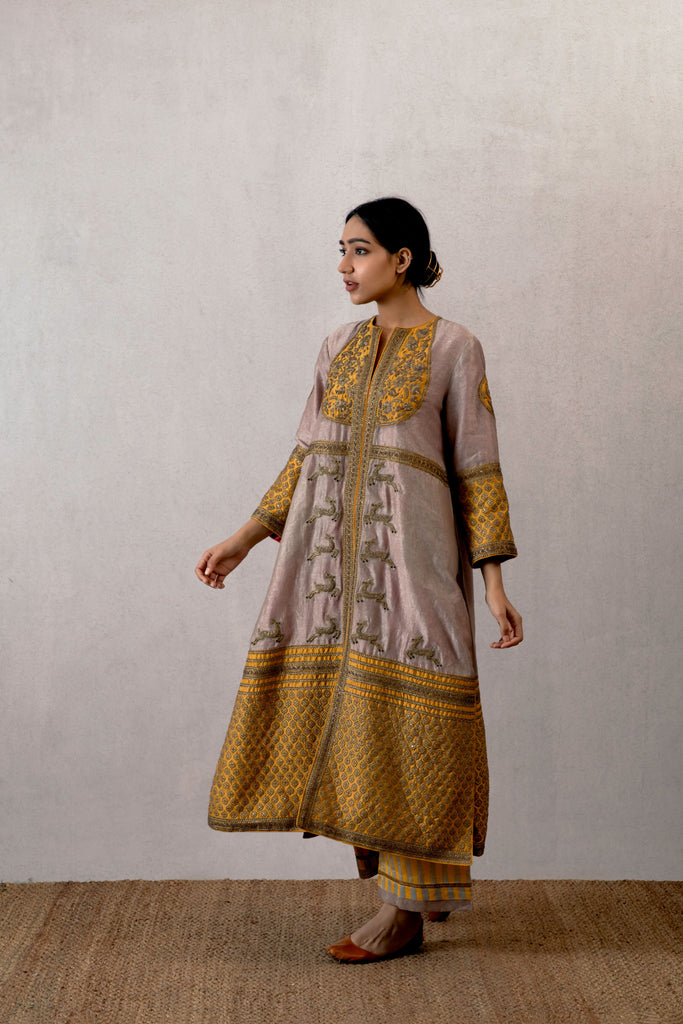 Sarson viras chanderi pantloon with hand embroidery