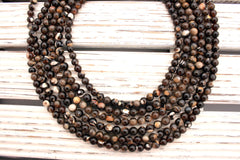 Rare & beautiful Australian Fossil Peanut Wood 6-7mm round beads (ETB00987)