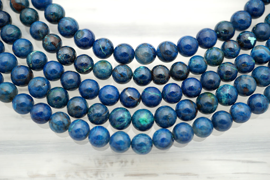 Rare and beautiful Shattuckite 7.5-8mm round beads (ETB01021)