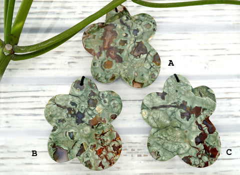 Rainforest Rhyolite flower pendants (ETP00279)
