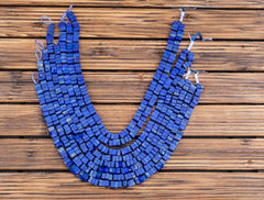 Matte Lapis Lazuli 8.5-10.5mm cube beads (amazing blue colour with gold sparkles) (ETB00865)