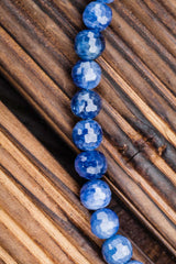 Rare Blue Sapphire faceted 6-7mm round beads (ETB00839)