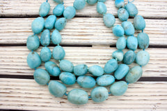 Peruvian Amazonite freeform beads/ tumblings (ETB00020)