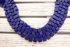 Matte Lapis Lazuli 8.5-10mm cubic / cube beads (amazing blue colour with gold sparkles) (ETB00034)