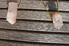 Lepidocrocite quartz faceted shaped with metal chain (ETO00029)