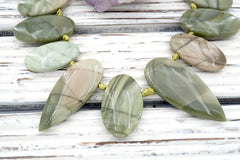 Green Imperial Jasper freeform beads (ETB01113)