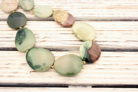 Green Imperial Jasper 23-29mm oval beads (ETB00992)