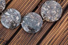 Turritella Agate 33-46mm round disc beads (ETB00914)