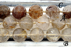 Rutilated Quartz 15-17mm round beads (ETB00452)