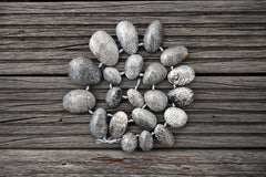 (SPL00001) Fossilised Bryozoan Coral freeform beads top side drilled