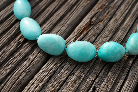 (SPL00051) Peruvian Amazonite organic form/pebble beads (large)