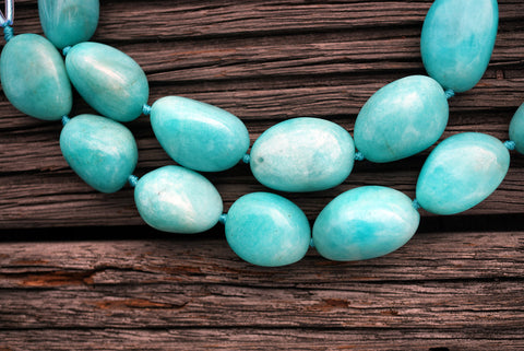 (SPL00052) Peruvian Amazonite organic form/pebble beads (large)